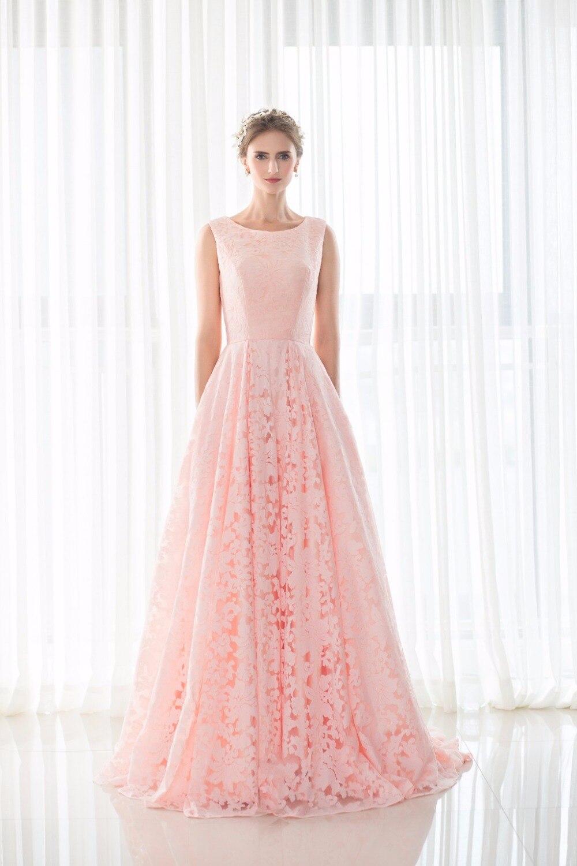 Magnífico Larga Vestidos De Dama De Luz De Color Rosa Ideas ...