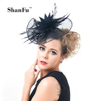 Women Large Flower Accent Feather Special Shape Fascinating Sinamay Vintage Fascinator Headband Wholesale SFCS12329 6pcs/lot