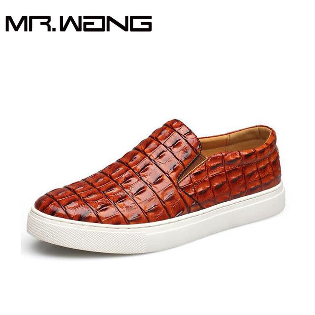 Muy de Moda para hombre de cuero de la pu patrón de Cocodrilo Zapatillas de Deporte de los hombres zapatos casuales resbalón en las Zapatillas de Deporte para caminar zapatos grandes del tamaño 38-47 AA-25