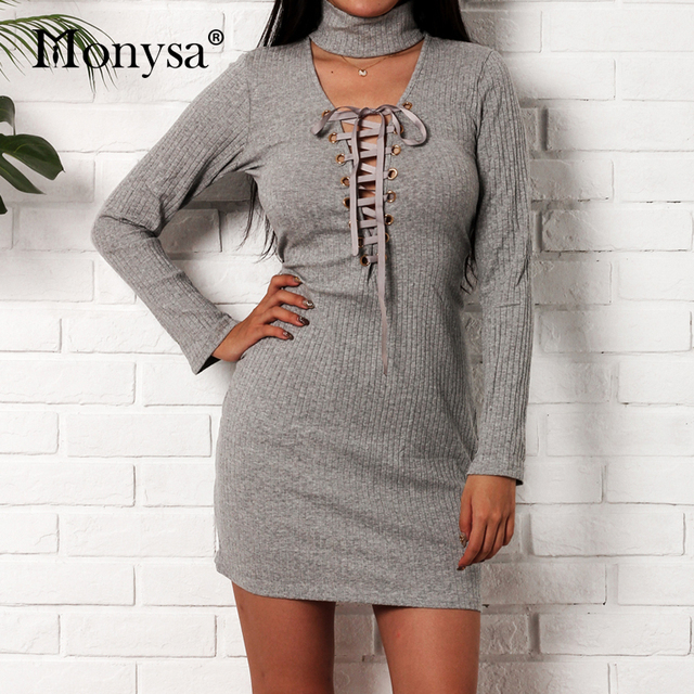 ed359b0a8d Sexy Bodycon Dresses For Women 2018 Autumn Lace Up Long Sleeve Pencil Dress  Ladies Knitted Dress Gray Black Women Clothes