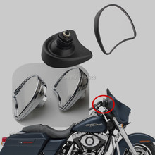 Free Shipping Motorbike MirrorRearview Side Fairing Mount Mirrors Fit for Harley Davidson Street Glide Road King FLHX 96-13 New