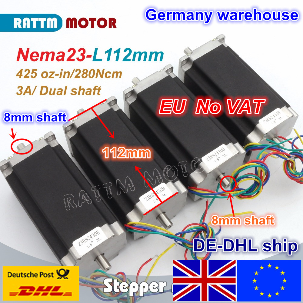EU Ship free VAT 4 pcs NEMA23 23HS2430B 425Oz-in 280N.cm CNC Dual shaft stepper motor stepping motor 3A for CNC Router Mill