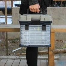 5 Layer PP+ABS Big Fishing Tackle Box High Quality Plastic Handle Fishing Box Carp Fishing Tools Fishing Accessories 27*17*26cm