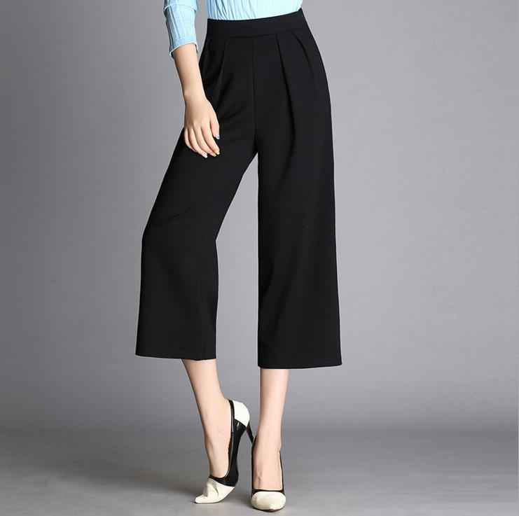 7566d373484 Spring Fall Loose Wide Leg Pants Capris Pants Casual Cropped Trousers Calf  Length Ankle Length Plus Size Female Black White-in Pants   Capris from  Women s ...