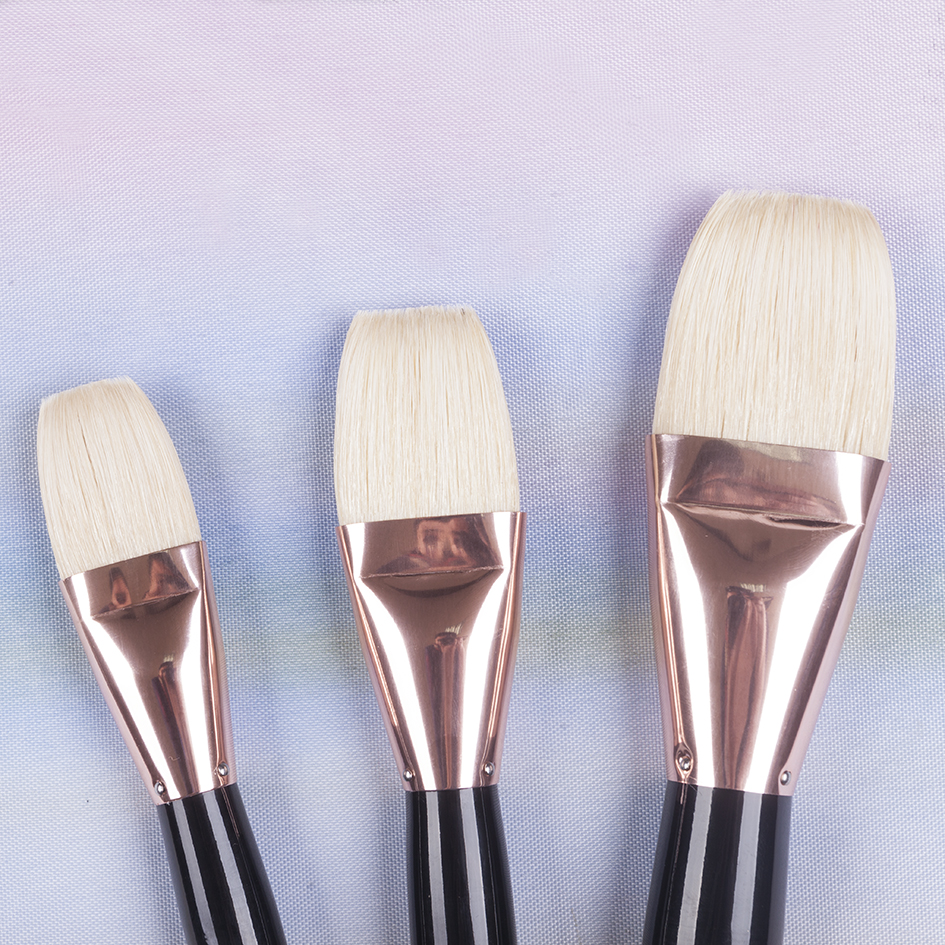545 high quality wooden handle hog bristle art brush paint artistic painting brushes for acrylic and oil drawing