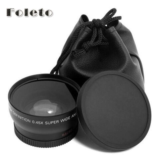 Foleto 52 mét 0.45x Wide Angle & Chuyển Đổi Macro Ống Kính Front Rear Cap đối với canon EF50/1.8II nikon d3100 d3200 18 -55 mét VR II ống kính