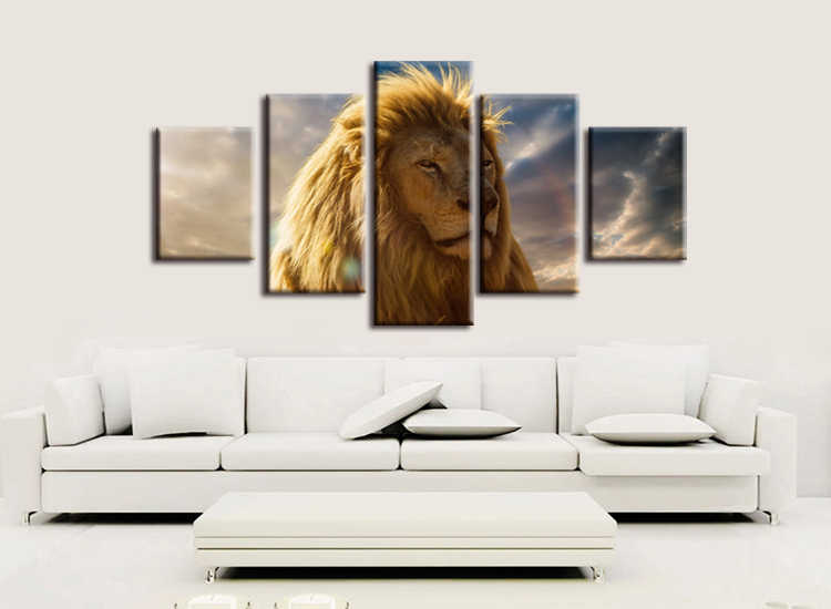 5 pieces / set  HD Printed Animals Lion Group Painting Canvas Print room decor print poster picture canvas