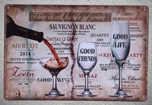 1 pc  wine red white brands good life friends bar shop store Tin Plate Sign wall Shop Menu Decoration Art Poster metal vintage