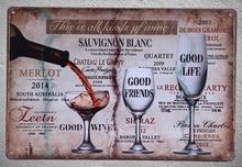 1 pc  wine red white brands good life friends  bar shop store Tin Plate Sign wall Shop Menu Decoration Art Poster metal vintage good shop 909g