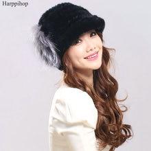 Новинка зимняя женская шапка натуральная шапка из меха кролика рекс с лисьим мехом цветок женская меховая шапка хорошего качества Меховая кепка 7 цветов