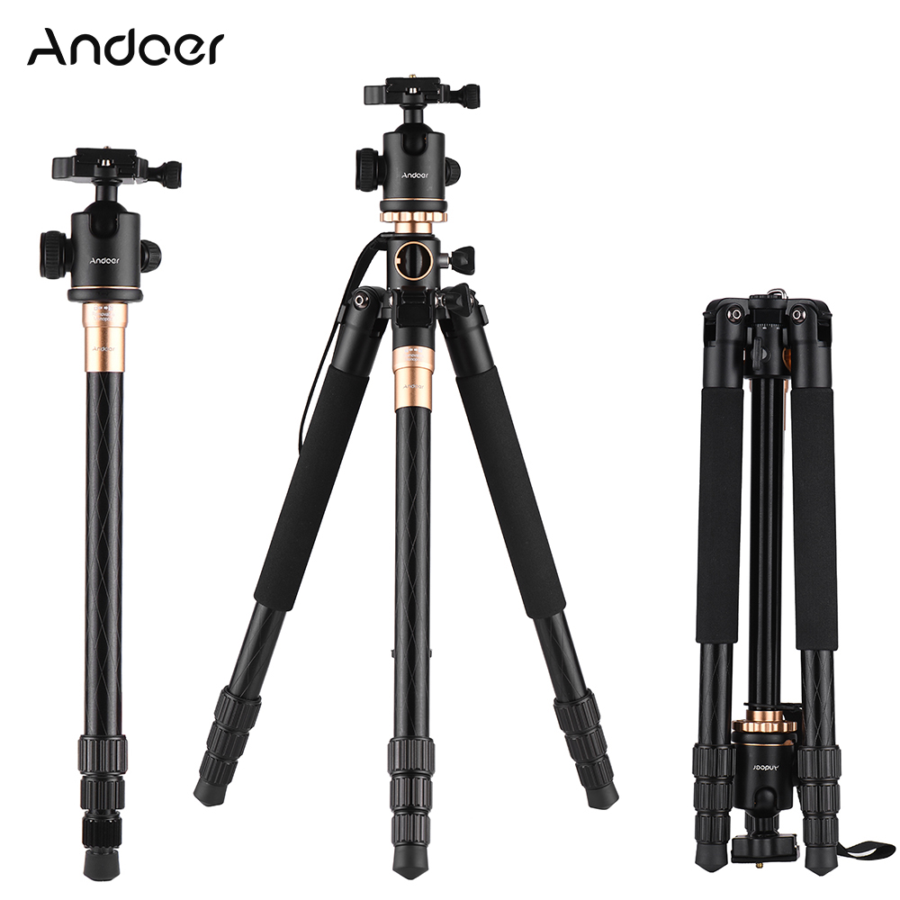 2018 New Andoe Q999H Professional Tripod Monopod Transverse Axis Tripod with Panoramic Ball Head 4 Section