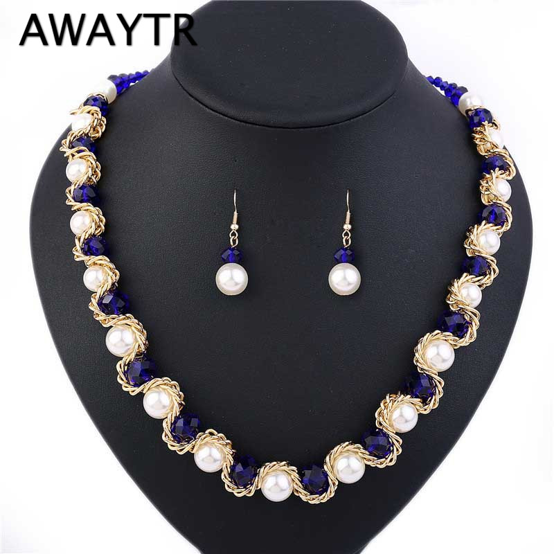 Aliexpress Com Buy New Fashion Necklace Earrings Bridal: Aliexpress.com : Buy AWAYTR 2018 New Simulated Pearl