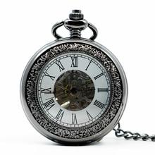 Hand-winding Mechanical Black Steampunk Pocket Watch PJX1218