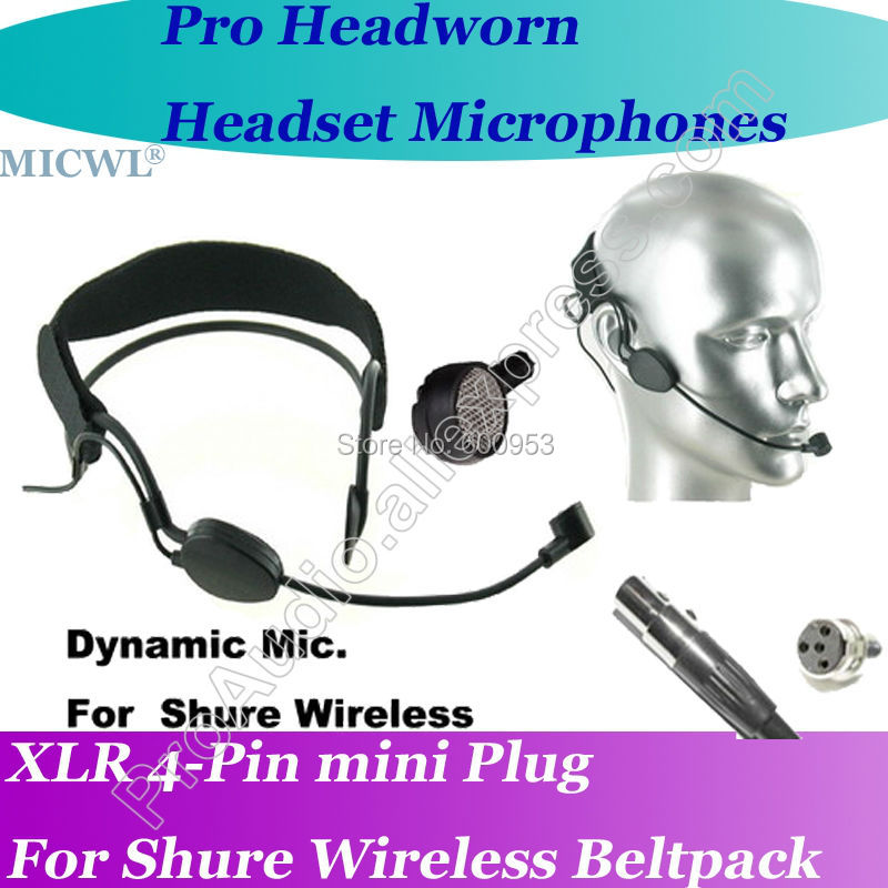 MICWL ME3 Dynamic Head worn Headset Microphone for Shure Wireless mini XLR 4Pin in Microphones from Consumer Electronics