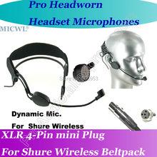 MICWL ME3 Dynamic Head worn Headset Microphone for Shure Wireless mini XLR 4Pin