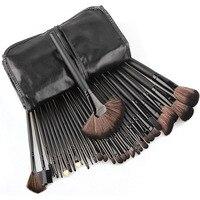 Professional 32pcs Black Makeup Brushes Set Foundation Powder Blusher Fan Brush Maquiagem Cosmetic Beauty Toolswith Leather