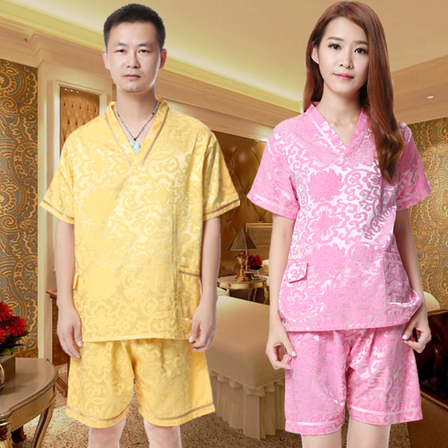 Men and women hotel bathrobe pajamas Shuipao couple spring and autumn waffle Khan steamed clothes pure cotton Pajama Sets