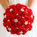 Envío libre Red Rose flor nupcial de la Joyería de Perlas de cristal Rhinestone broche ramo de La Boda de Novia Ramos de flores de tela de Tela
