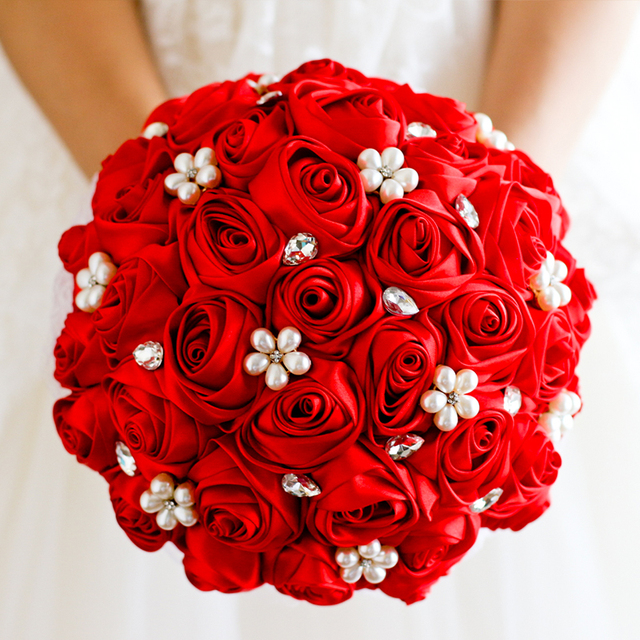 Wedding bouquet Red Rose flower bridal brooch bouquet Wedding Bride ...