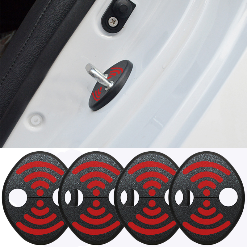 DIY Lock Sticker Car Door Lock Cover Fit For Porsche Panamera Macan 718 911 Cayman BOXSTER Seat Liiza Alhambra 4 Pcs Per Set