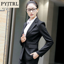 ee3fe2549b8 PYJTRL Elegant Women Autumn Winter Fashion Business 2 Pieces Suits Overalls  Skirt Suit Office Uniform Style