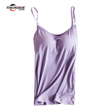 Women's Built In Bra Padded Modal Tank Top Camisole Women Adjustable Strap Push Up Tops New Fitness Bra Top
