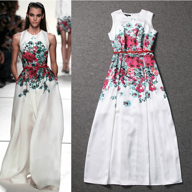 Elie Saab 2014 Fashion Jewel Flower Pattern A Line Evening Dress In ...
