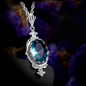 Image 4 - Szjinao Real 925 Sterling Silver Pendant For Women Aquamarine Necklace Pendants Oval Gemstone Vintage Viking Fine Jewelry Gift