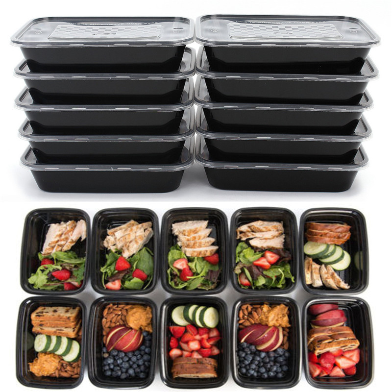 Reusable Plastic Food Storage Containers with Lids Microwave and