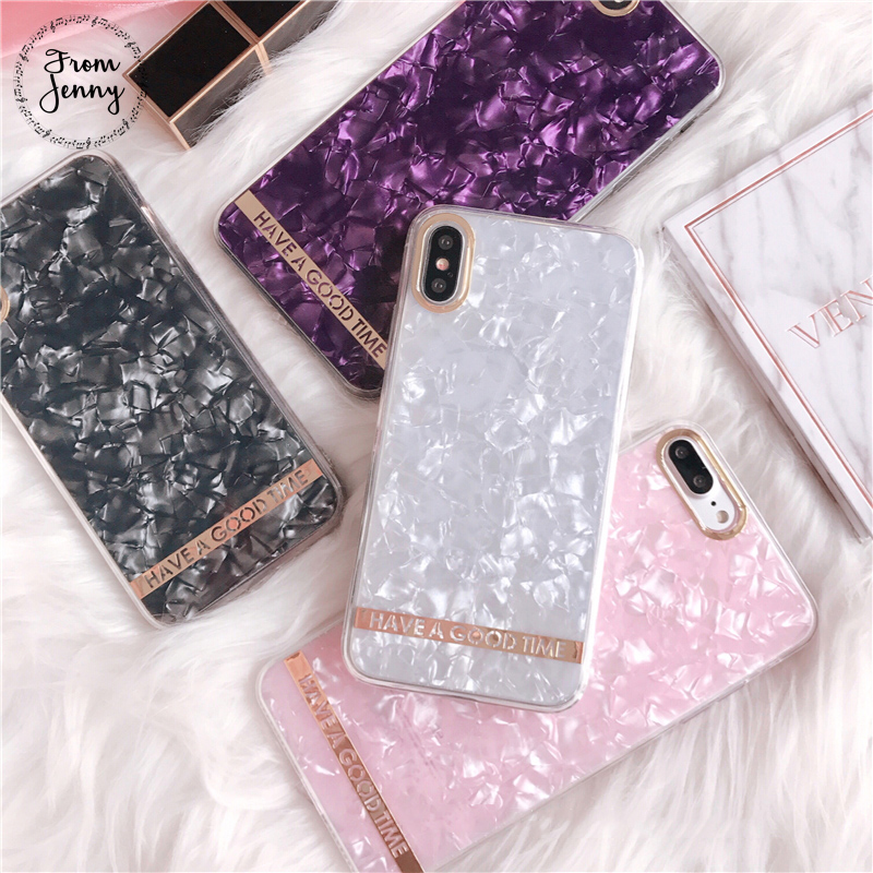 From Jenny 2018 New Solid Marble Phone Case for IPhone 6 6s 6plus 7/7plus Sweet Anti-knock Soft Cover For iPhone 8 8plus X
