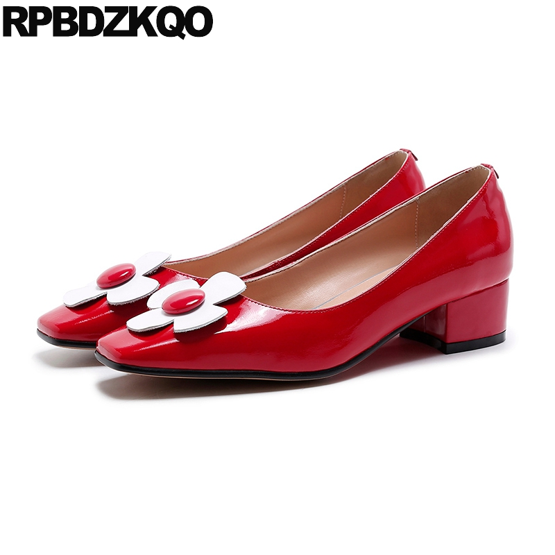Women Flower Flats Ladies Slip On Genuine Leather Red Low Heel Square Toe Patent Beautiful Shoes High Quality European Latest brand women flats shoes spring autumn square toe pu button slip on low heel women s shoes ladies casual flat heel loafers red