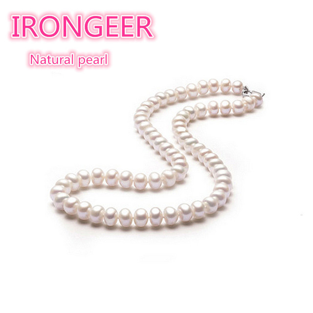 R Strong light Flawless 100% natural Nearround pearls necklace Fashion pearl jewelry For women Mom's birthday gift Free shipping