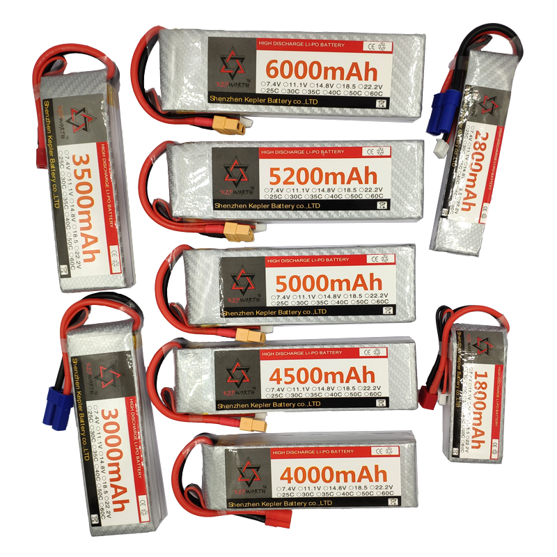 RC Lipo Battery 11.1V 3S Lithium-Polymer Battery 1500 1800 2200 2800 3000 3500 4200 4500 5000 6000mAh 60C For RC Helicopter Car(China)