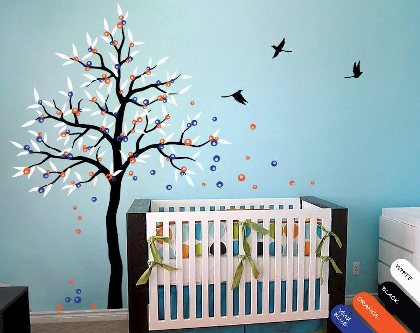 Sticker mural grand arbre de printemps avec oiseaux, fleurs et feuilles autocollant mural pour enfants-stickers muraux pour arbres D-125