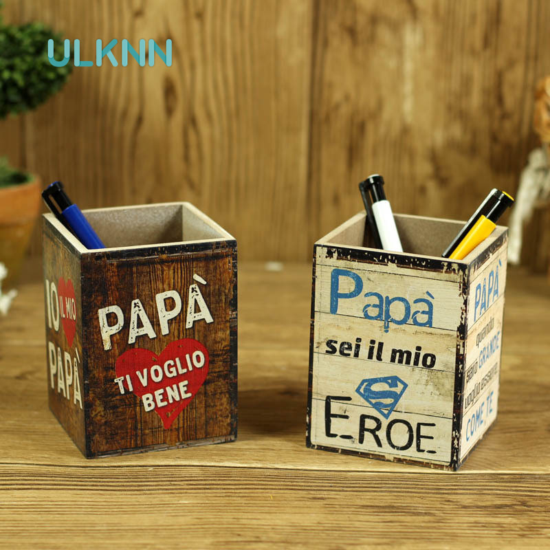 Vintage Europe Style Pen Container Creative MDF Small Size Stationary Storage Box Office Organizer Remote Control Holder