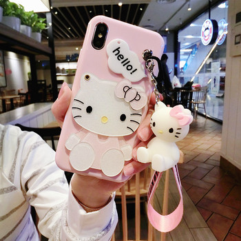 For iPhone Xsmax/11 7 8 6 6s plus case cat For samsung galaxy s8 plus s6 s7 edge case cartoon mirror cover + stand doll rope