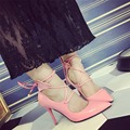 New Fashion High Heeled Thin Heels Pointed Toe Lace up Heels Pumps Shoes PU Leather Women Pumps Shoes Sexy Pumps Heels