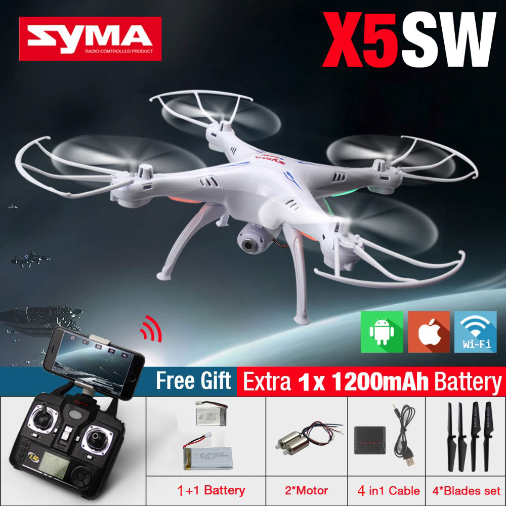 SYMA X5SW 4CH 2.4GHz 6-Axis RC Quadcopter With HD Camera Hovering Headless Mode RC Drone 1200mAh Battery Prop 4PCS Motor 2PCS original jjrc h28 4ch 6 axis gyro removable arms rtf rc quadcopter with one key return headless mode drone