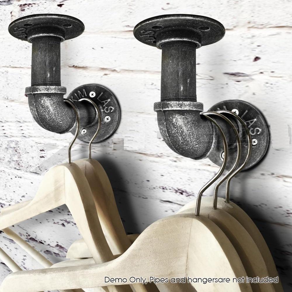 (Set of 8)Industrial Rustic Wall Mount 1 Iron Pipe Bracket for Floating Shelf Tube Coat Hooks Hat Racks-4x 4'' цена