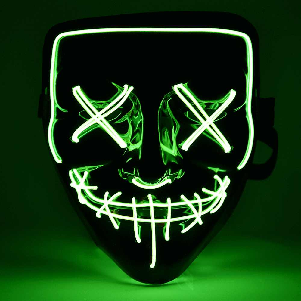 Neon Mask Light Up Purge Skull Funny Costume Election Party Masks Glow In Dark