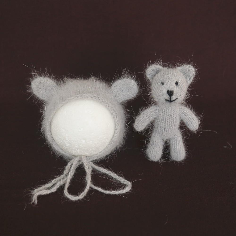 Gray Teddy Bear Hat Mohair Bear Bonnet and doll set Animal Ears Newborn Hand Knitted bonnet Newborn photography props