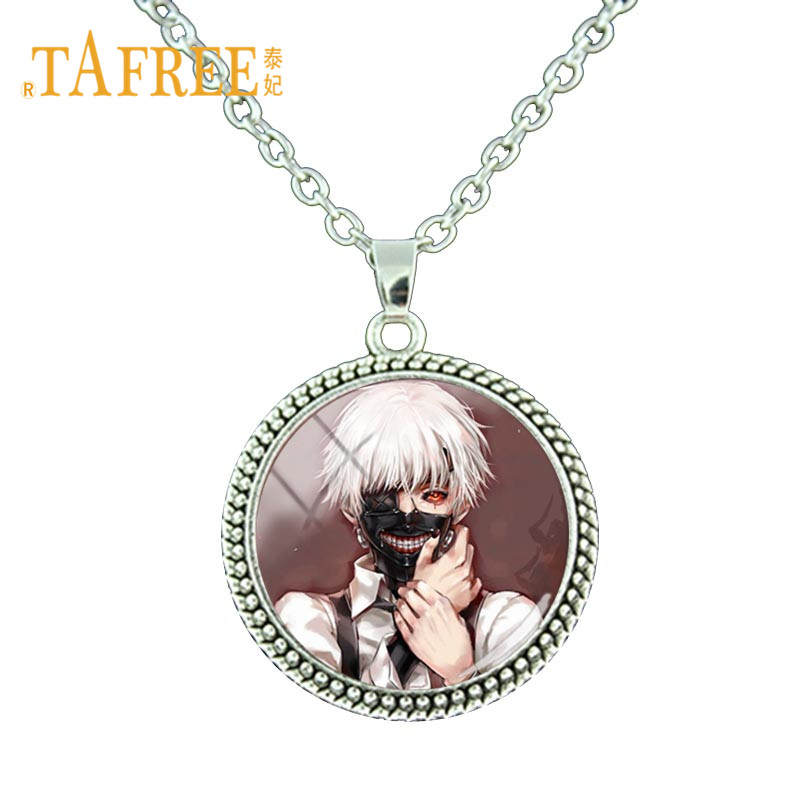 TAFREE Japanese Anime Tokyo Ghoul Necklace Cartoon Figure Round Pendant Chain Necklace Anime lovers Jewelry Gift BTS126