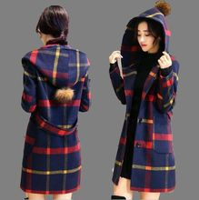 New Fashion College Wind 2016 Autumn Winter Women Woolen Coat Grid Medium long Hooded Hairball Loose Big yards Woolen Coat G0487