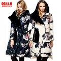 2016 Chaqueta de Invierno Mujeres Abajo chaquetas de flores flojo ocasional de retazos de terciopelo de impresión hacia abajo abrigo Grueso Outwear Abajo Parkas Largo