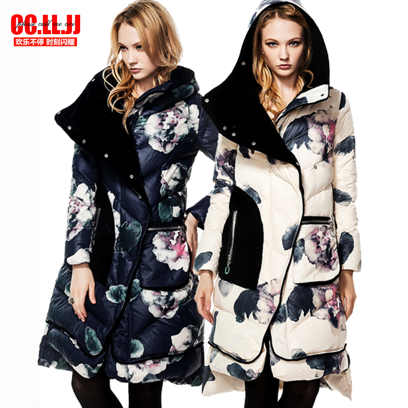2016 Winter Jacket Women Down jackets flowers loose casual velvet patchwork print down coat Thick Outwear Down Parkas Long 2017 winter women jacket new fashion thick warm medium long down cotton coat long sleeve slim big yards female parkas ladies269