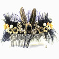Meninas da moda gem flor do laço pérola pena headbands para as mulheres indianas bohemian do vintage tiara de noiva acessórios para o cabelo headwear