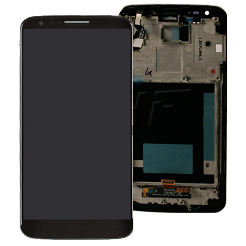 For LG G2 D802 Complete Lcd Screen with Digitizer Touchpad Assembly and Frame - Black