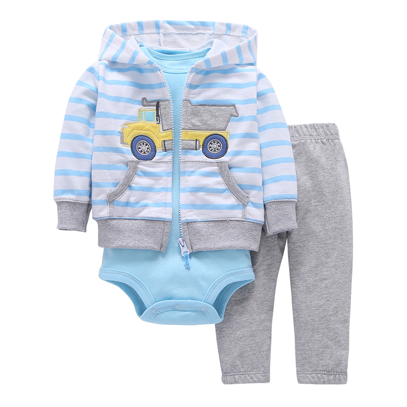 Baby boy clothes set 3pcs Long Sleeved Coat + pants + rompers 100% cotton infant jacket set cartoon pattern autumn winter new