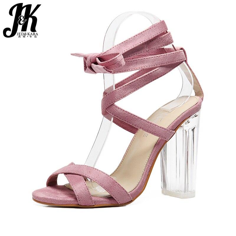 ФОТО J&K 2017 Fashion Crystal Heel Cross Bandage Gladiator Sandals Women Thick High Heels Open toe Summer Shoes Woman Lace up Sandals