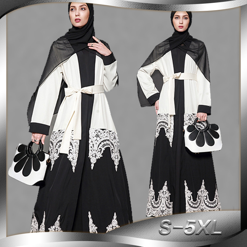 2019 Women Muslim Dress Black White Patchwork Plus Size 5XL Islamic Abaya Dubai Saudi Arabia Dress Robe Musulmane Turc Платье
